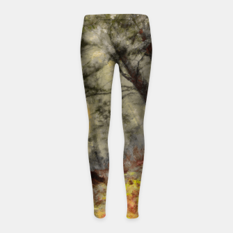 abstract misty forest painting hvhd hfsepia Girl's leggings thumbnail image