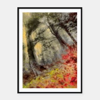 abstract misty forest painting hvhd hfsepia Framed poster thumbnail image