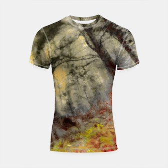 Thumbnail image of abstract misty forest painting hvhd hfsepia Shortsleeve rashguard, Live Heroes