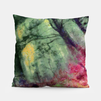 Thumbnail image of abstract misty forest painting hvhd hfstd Pillow, Live Heroes