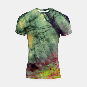 Thumbnail image of abstract misty forest painting hvhd hfstd Shortsleeve rashguard, Live Heroes