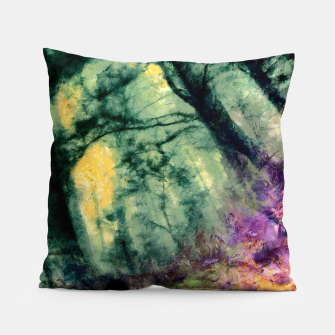 Thumbnail image of abstract misty forest painting hvhd hftop Pillow, Live Heroes