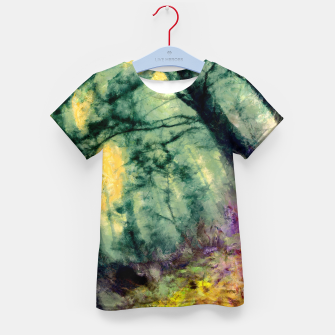 Thumbnail image of abstract misty forest painting hvhd hftop Kid's t-shirt, Live Heroes