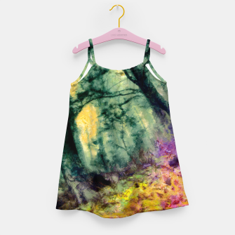 Thumbnail image of abstract misty forest painting hvhd hftop Girl's dress, Live Heroes