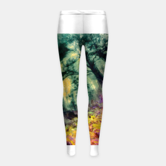 Thumbnail image of abstract misty forest painting hvhd hftop Girl's leggings, Live Heroes