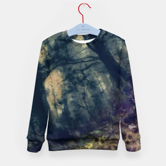 Thumbnail image of abstract misty forest painting hvhd hffn Kid's sweater, Live Heroes