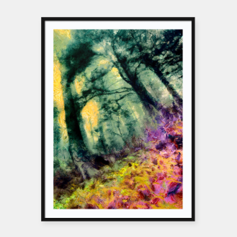 Thumbnail image of abstract misty forest painting hvhd hftop Framed poster, Live Heroes