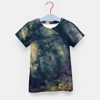 Thumbnail image of abstract misty forest painting hvhd hffn Kid's t-shirt, Live Heroes
