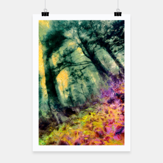Thumbnail image of abstract misty forest painting hvhd hftop Poster, Live Heroes
