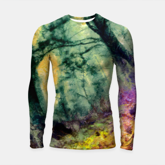Thumbnail image of abstract misty forest painting hvhd hftop Longsleeve rashguard , Live Heroes