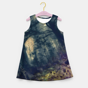 Thumbnail image of abstract misty forest painting hvhd hffn Girl's summer dress, Live Heroes