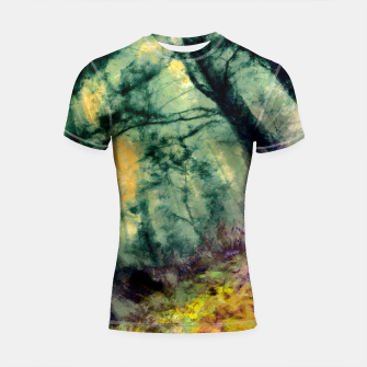 Thumbnail image of abstract misty forest painting hvhd hftop Shortsleeve rashguard, Live Heroes