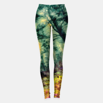 Thumbnail image of abstract misty forest painting hvhd hftop Leggings, Live Heroes