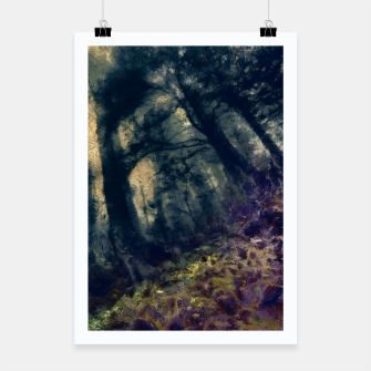 Thumbnail image of abstract misty forest painting hvhd hffn Poster, Live Heroes