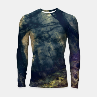 Thumbnail image of abstract misty forest painting hvhd hffn Longsleeve rashguard , Live Heroes