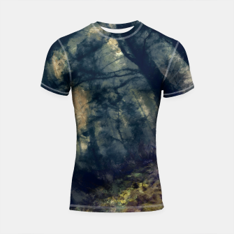 Thumbnail image of abstract misty forest painting hvhd hffn Shortsleeve rashguard, Live Heroes