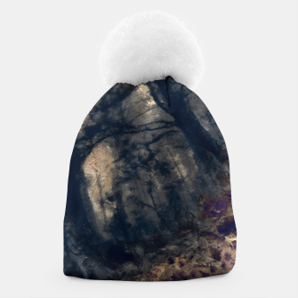 Thumbnail image of abstract misty forest painting hvhd hfall Beanie, Live Heroes