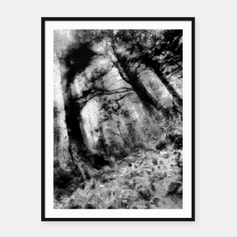Miniature de image de abstract misty forest painting hvhd hfbw Framed poster, Live Heroes