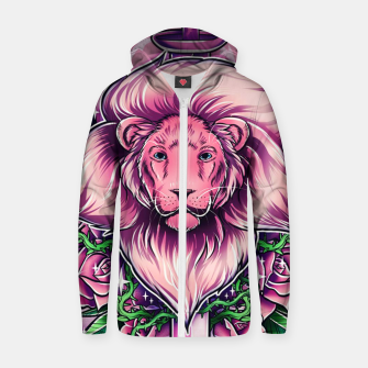 Thumbnail image of Pink Lion Zip up hoodie, Live Heroes