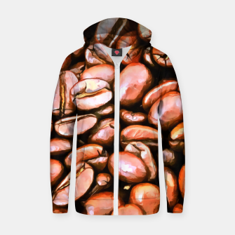 roasted coffee beans texture acrsat Zip up hoodie thumbnail image