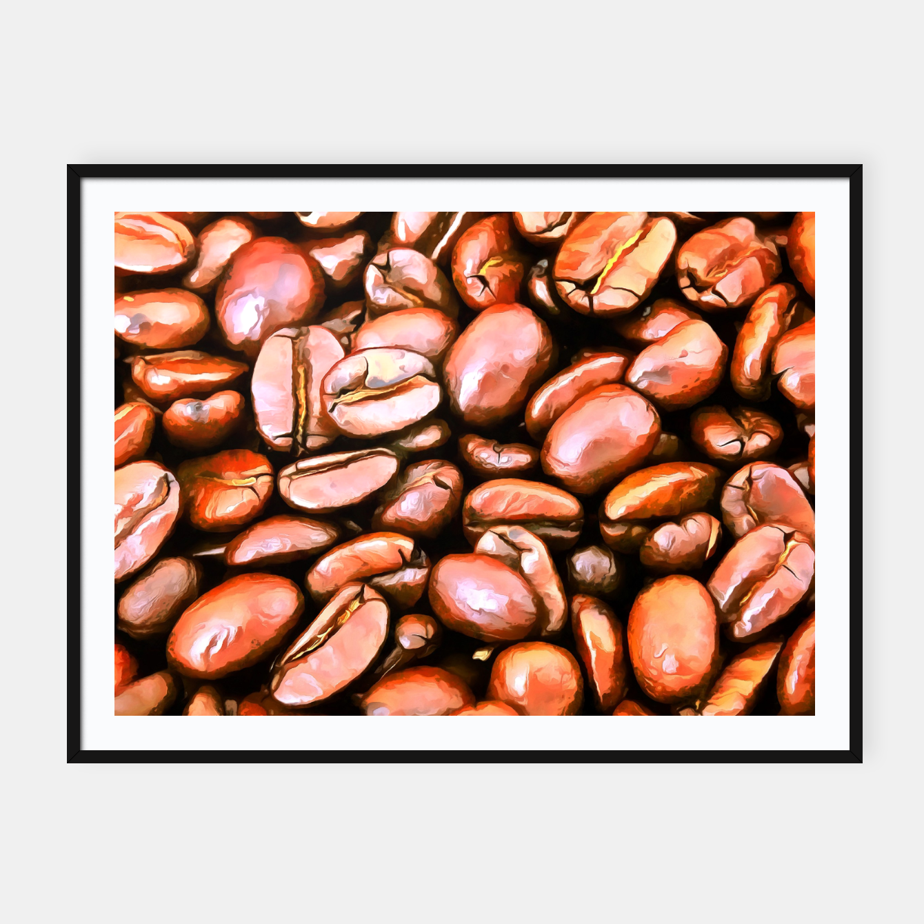 Image of roasted coffee beans texture acrsat Framed poster - Live Heroes