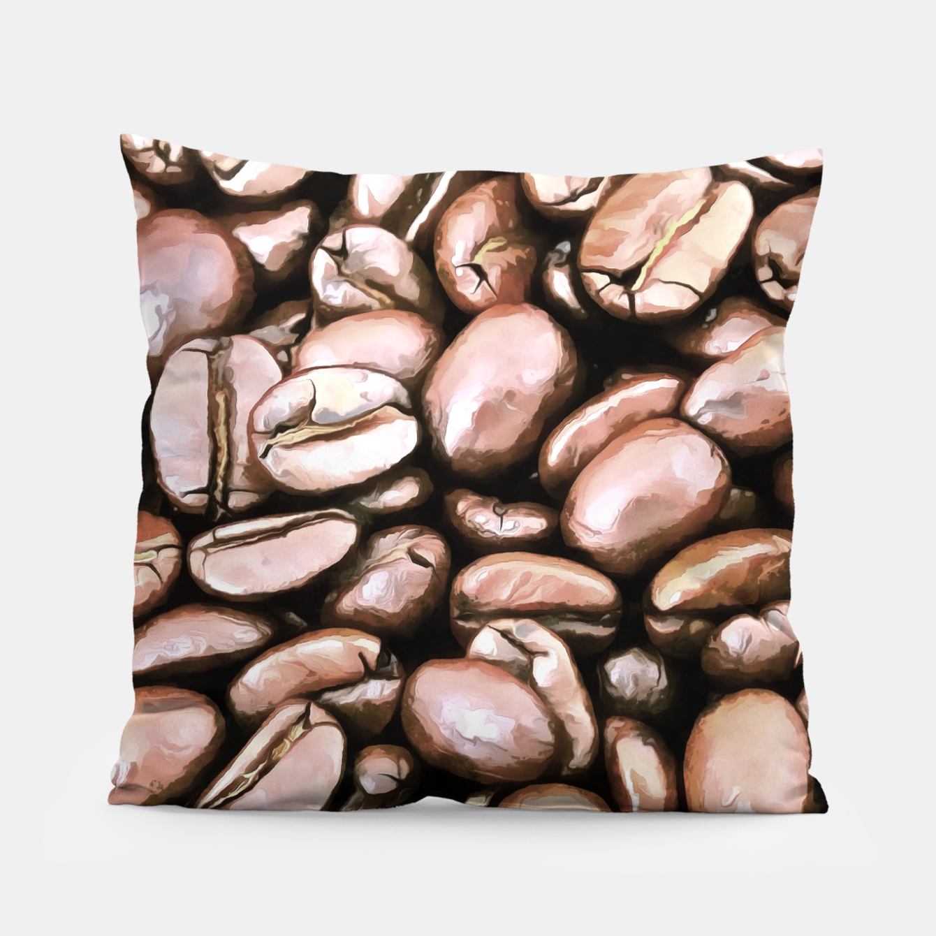 Image de roasted coffee beans texture acrstd Pillow - Live Heroes