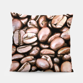 Miniatur roasted coffee beans texture acrstd Pillow, Live Heroes