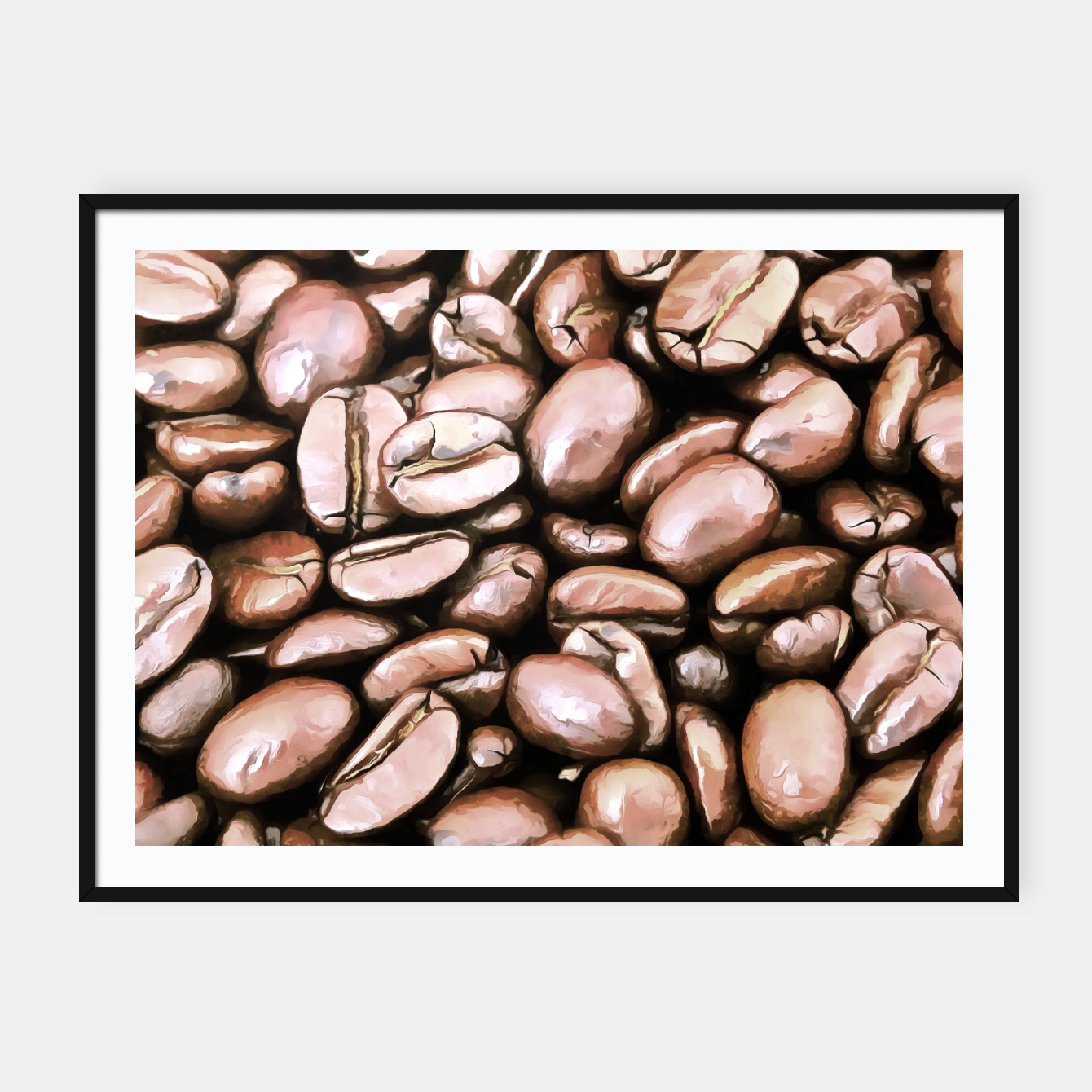 Image of roasted coffee beans texture acrstd Framed poster - Live Heroes