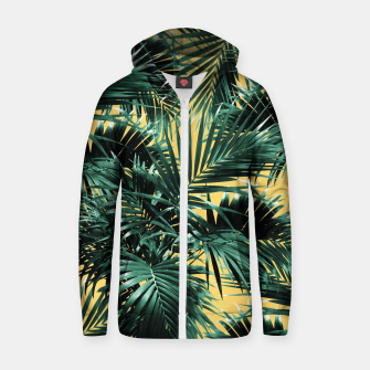 Thumbnail image of Tropical Palm Leaf Jungle #2 #tropical #decor #art  Reißverschluss kapuzenpullover, Live Heroes
