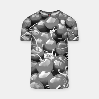 Thumbnail image of cherries pattern reacbw T-shirt, Live Heroes