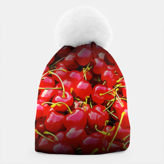 Thumbnail image of cherries pattern reaclistd Beanie, Live Heroes