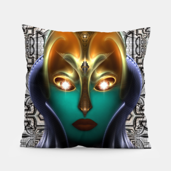 Thumbnail image of Daria Cyborg Queen Tech Fractal Portrait Pillow, Live Heroes