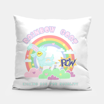 Miniatur POW! Rainbow Goat Kicking Ass for Equality Pillow, Live Heroes