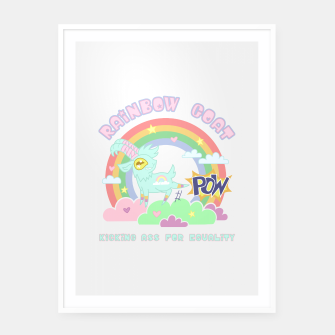 Miniatur POW! Rainbow Goat Kicking Ass for Equality Framed poster, Live Heroes