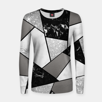 Miniatur Black White Silver Geometric Glam #1 #geo #decor #art Frauen sweatshirt, Live Heroes