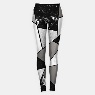 Miniatur Black White Silver Geometric Glam #1 #geo #decor #art Leggings, Live Heroes