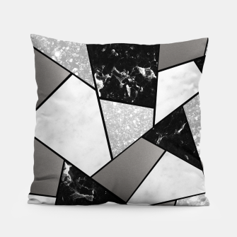 Miniatur Black White Silver Geometric Glam #1 #geo #decor #art Kissen, Live Heroes