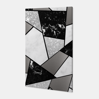 Miniatur Black White Silver Geometric Glam #1 #geo #decor #art Canvas, Live Heroes