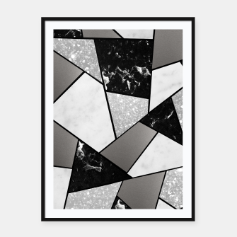 Thumbnail image of Black White Silver Geometric Glam #1 #geo #decor #art Plakat mit rahmen, Live Heroes