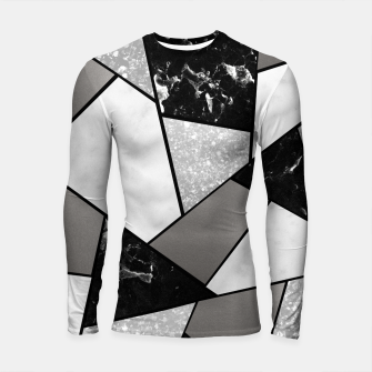 Thumbnail image of Black White Silver Geometric Glam #1 #geo #decor #art Longsleeve rashguard, Live Heroes