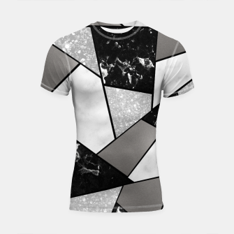Thumbnail image of Black White Silver Geometric Glam #1 #geo #decor #art Shortsleeve rashguard, Live Heroes