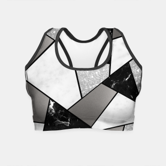 Miniatur Black White Silver Geometric Glam #1 #geo #decor #art Crop Top, Live Heroes