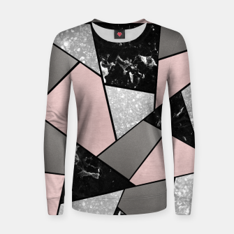 Miniatur Black White Silver Blush Geometric Glam #1 #geo #decor #art Frauen sweatshirt, Live Heroes