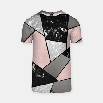 Black White Silver Blush Geometric Glam #1 #geo #decor #art T-Shirt Bild der Miniatur
