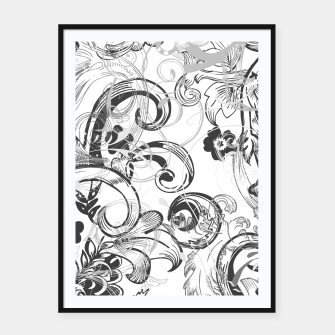 Thumbnail image of floral ornaments pattern wh Framed poster, Live Heroes