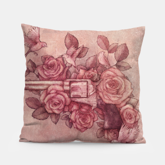 Thumbnail image of Guns and Flowers Pillow, Live Heroes