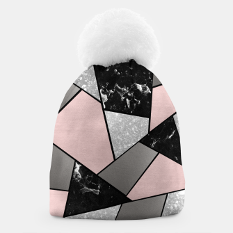 Miniatur Black White Silver Blush Geometric Glam #1 #geo #decor #art Mütze, Live Heroes