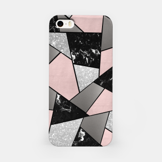 Black White Silver Blush Geometric Glam #1 #geo #decor #art iPhone-Hülle Bild der Miniatur