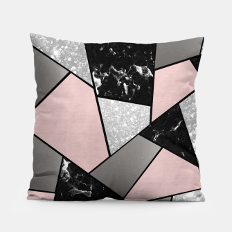 Miniatur Black White Silver Blush Geometric Glam #1 #geo #decor #art Kissen, Live Heroes