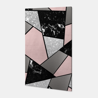 Miniatur Black White Silver Blush Geometric Glam #1 #geo #decor #art Canvas, Live Heroes